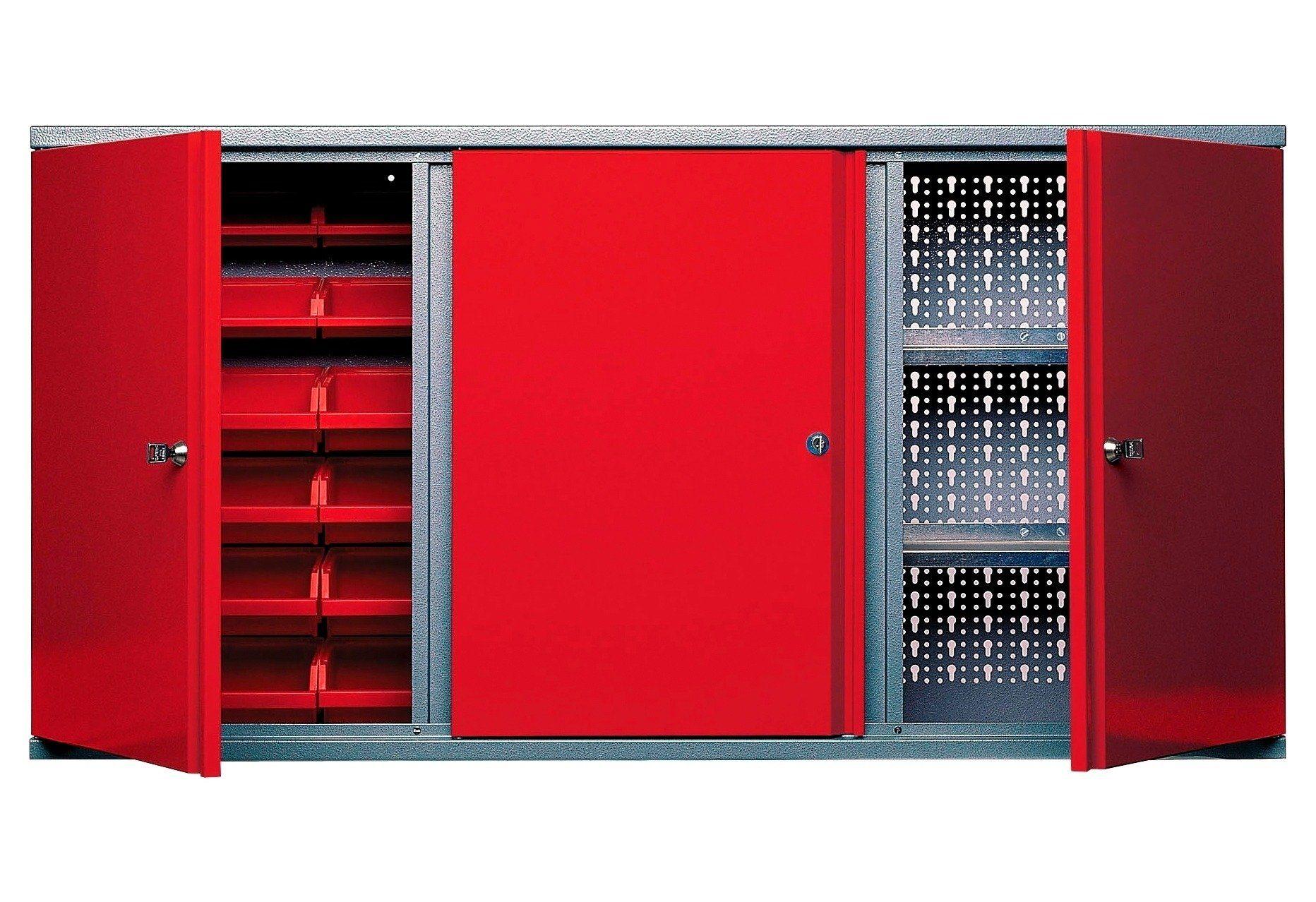 Küpper Hängeschrank »3 Türen, 2 Einlegeböden, 18 Sichtboxen, in rot«
