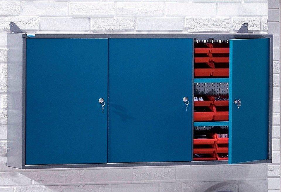 Hängeschrank »3 Türen, 2 Einlegeböden, 18 Sichtboxen, in hammerschlagblau« in blau