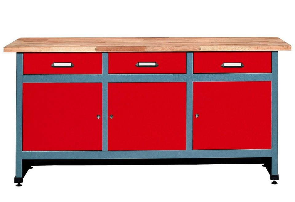 Küpper Werkbank »3 Türen, 3 Schubladen«, in rot, verschiedene Höhen in rot