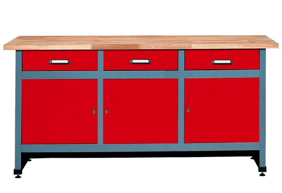 Werkbank »3 Türen, 3 Schubladen«, in rot, verschiedene Höhen in rot