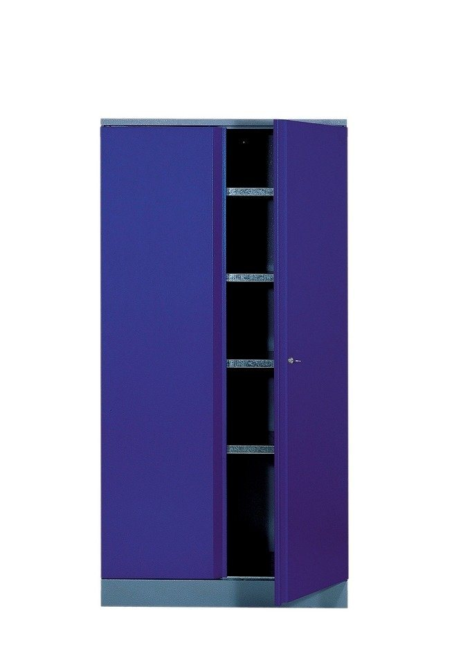 Hochschrank mit 2 Türen, 4 Einlegeböden, in ultramarinblau in royalblau