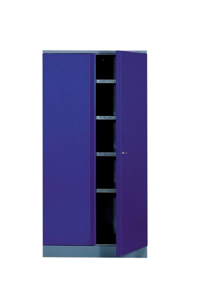 Hochschrank mit 2 Türen, 4 Einlegeböden, in ultramarinblau