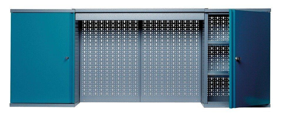 Hängeschrank »mit Lichtblende, 2 Türen, 4 Einlegeböden, in hammerschlagblau« in blau