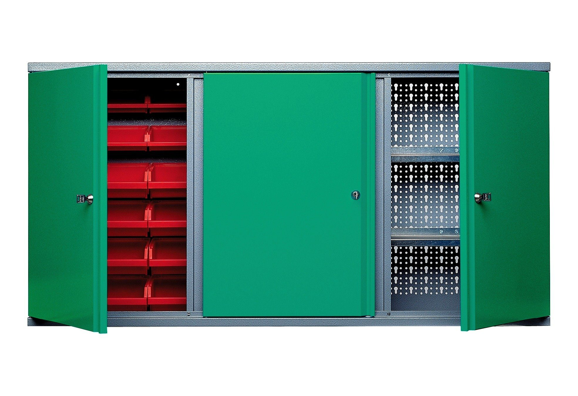 Küpper Hängeschrank »3 Türen, 2 Einlegeböden, 18 Sichtboxen, in grün«
