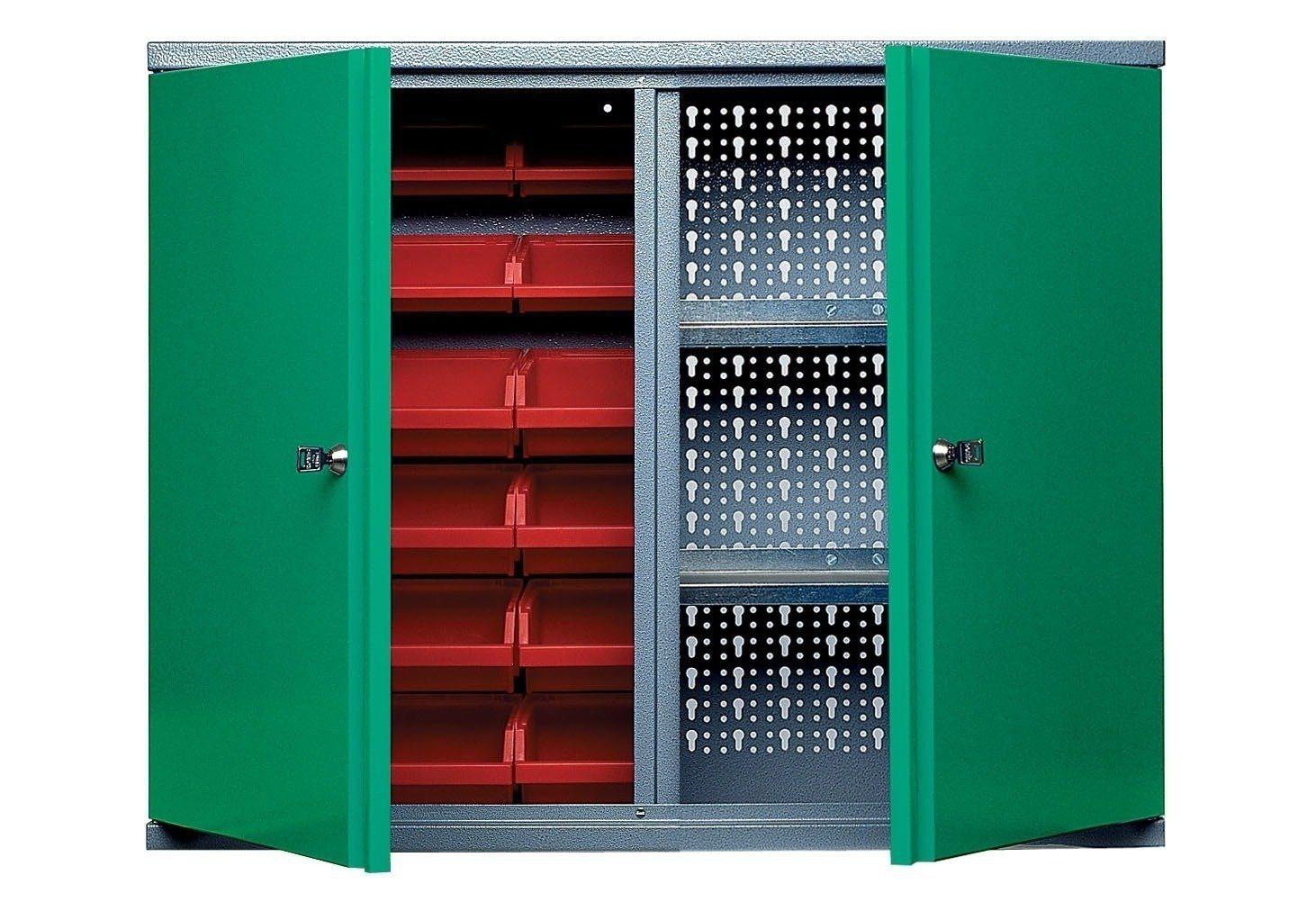 Küpper Hängeschrank »2 Türen, 2 Einlegeböden, 18 Sichtboxen, in grün«