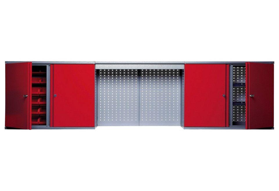 Hängeschrank »mit Lichtblende, 4 Türen, 4 Einlegeböden, 36 Sichtboxen, in rot« in rot
