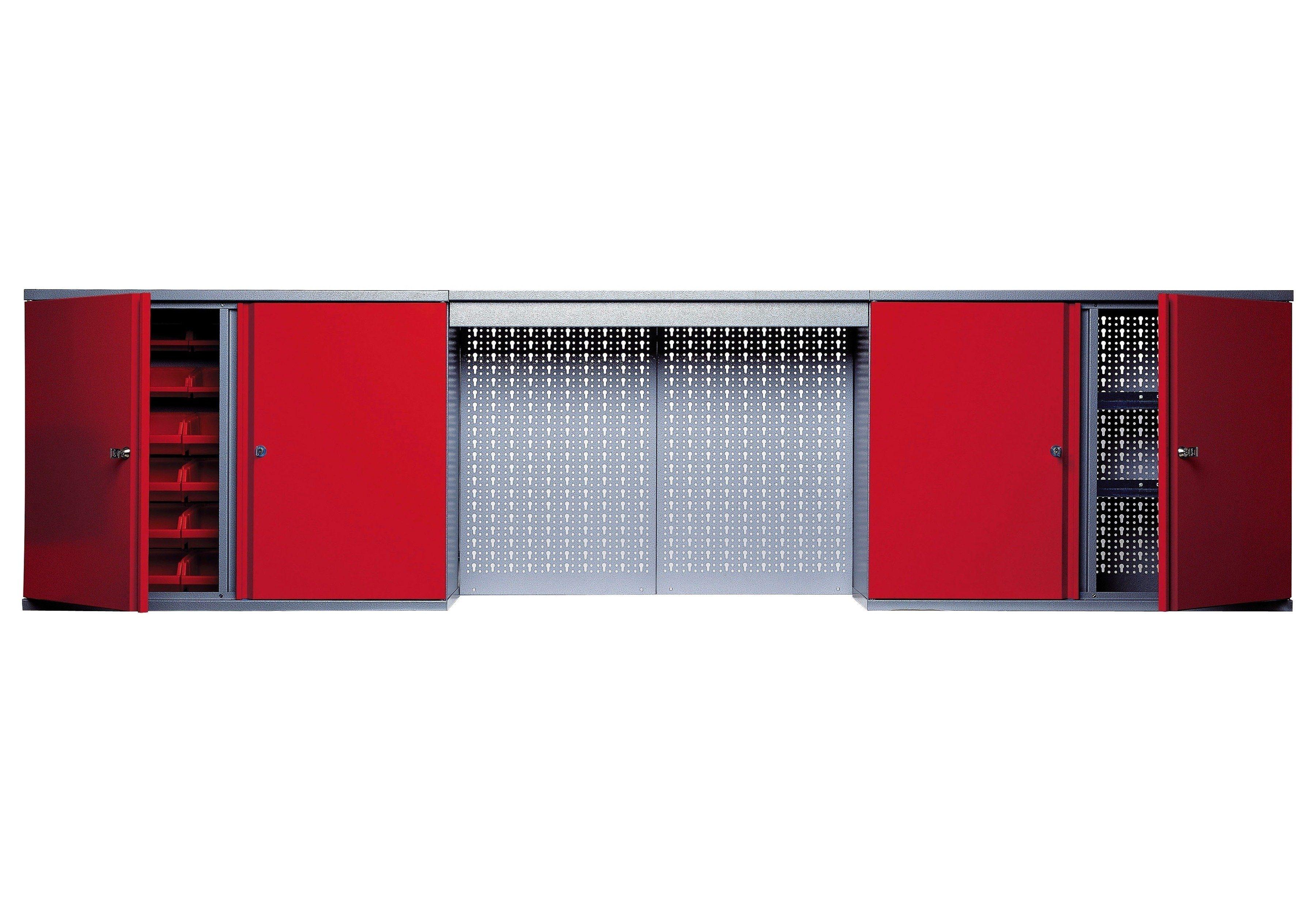 Küpper Hängeschrank »mit Lichtblende, 4 Türen, 4 Einlegeböden, 36 Sichtboxen, in rot«