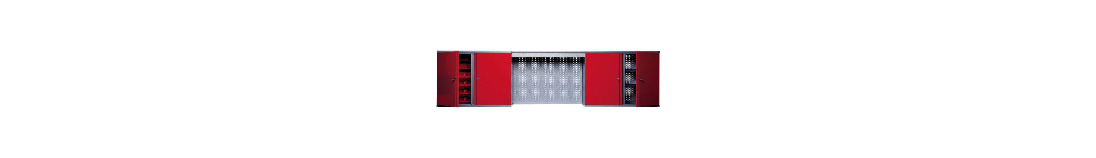 Hängeschrank »mit Lichtblende, 4 Türen, 4 Einlegeböden, 36 Sichtboxen, in rot«