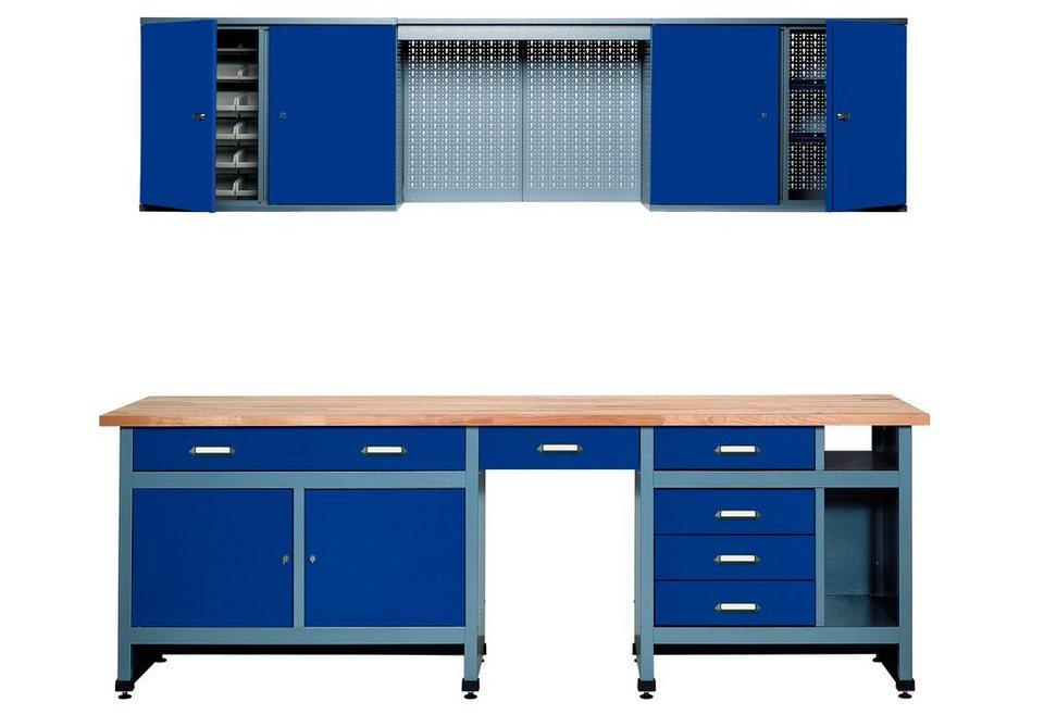 Werkbank-Komplett-Set 240 cm, in ultramarinblau, SONDERHÖHE 95 cm in blau