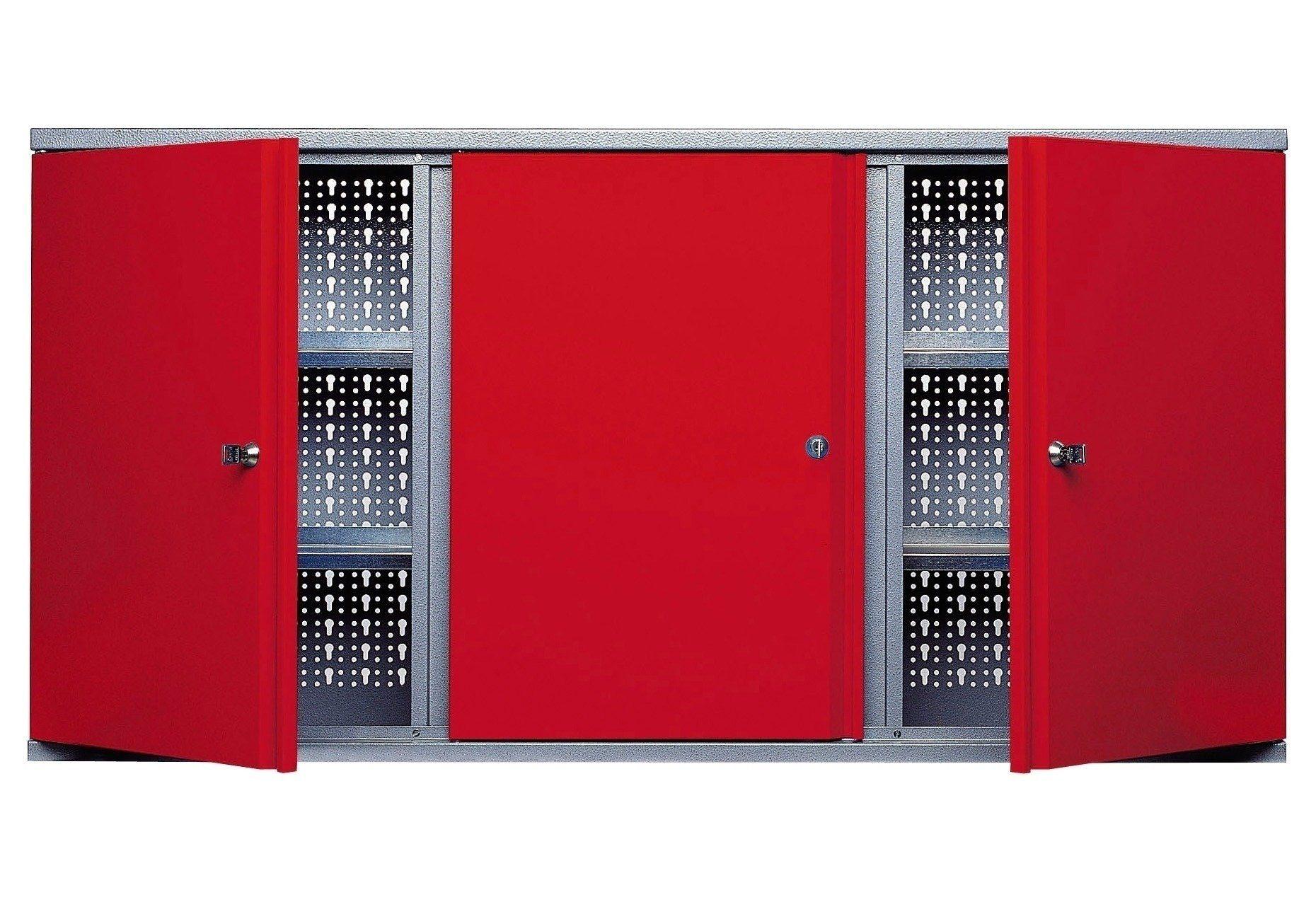 Hängeschrank »3 Türen, 4 Einlegeböden, in rot«