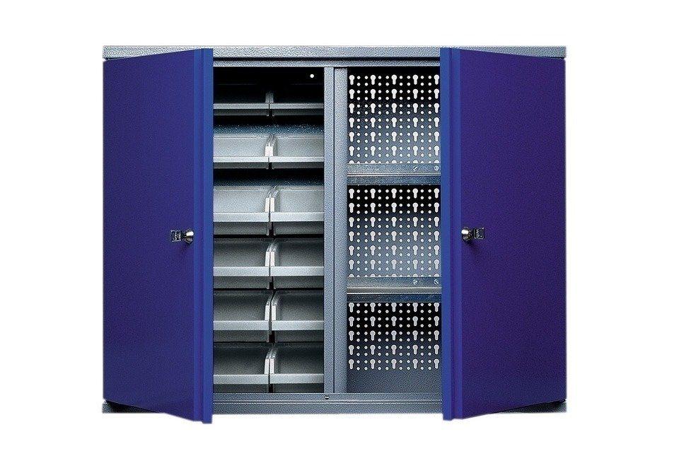 Küpper Hängeschrank »2 Türen, 2 Einlegeböden, 18 Sichtboxen, in ultramarinblau« in blau