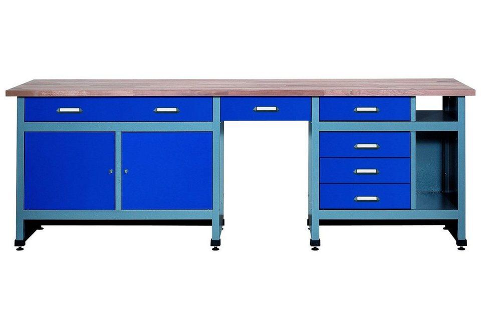 Werkbank »2 Türen, 6 Schubladen«, ultramarinblau, in verschiedenen Höhen in blau