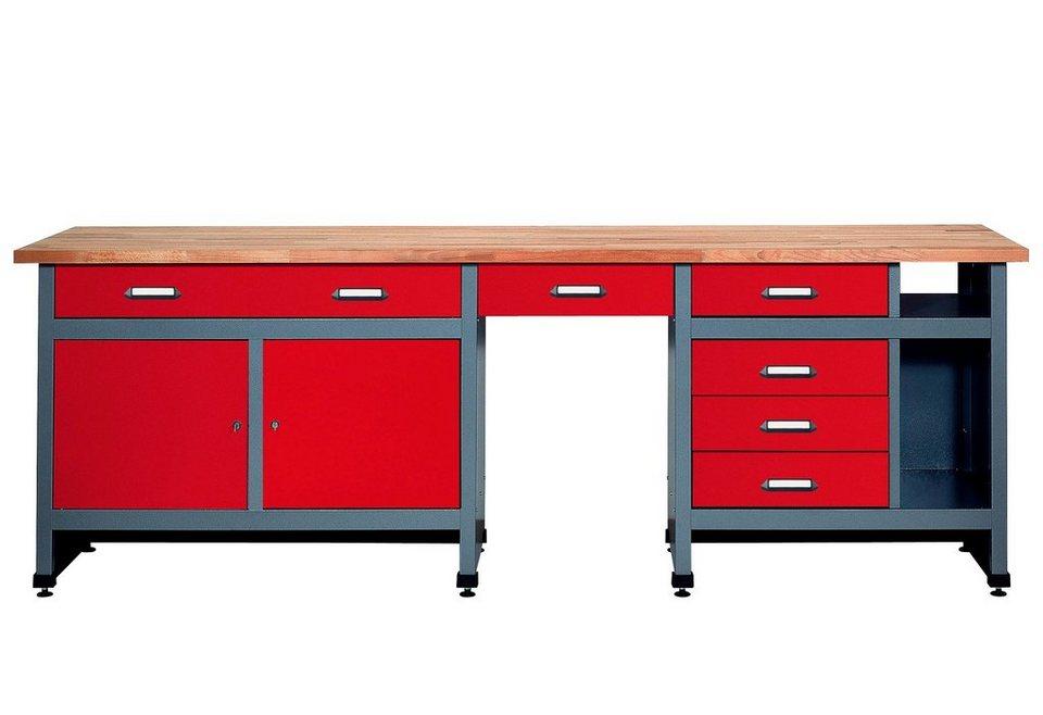 Werkbank »6 Schubladen, 2 Türen«, in rot, SONDERHÖHE 95 cm in rot
