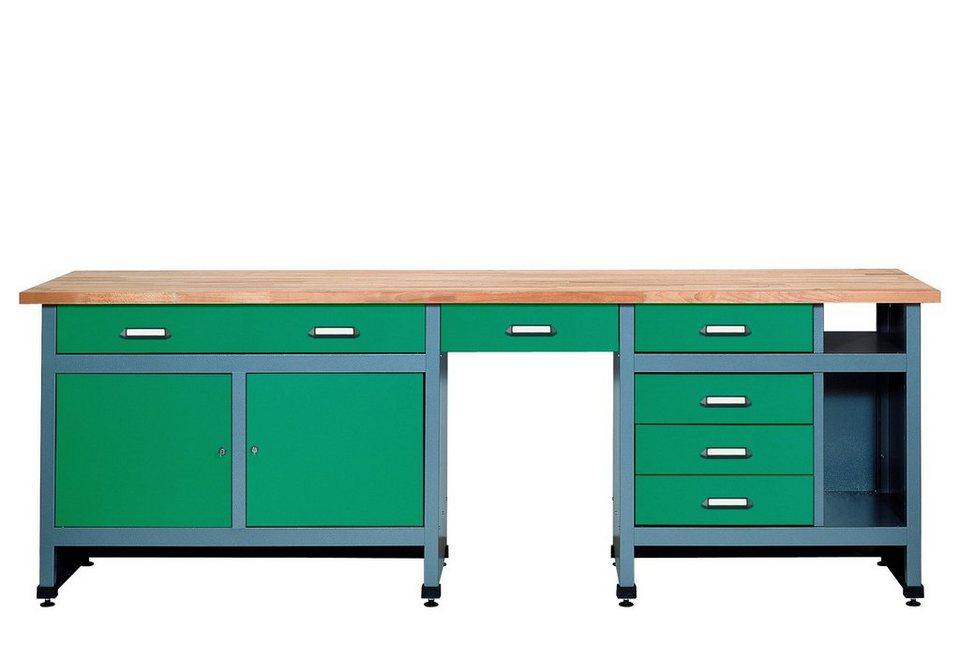 werkbank 2 t ren 6 schubladen gr n in verschiedenen h hen online kaufen otto. Black Bedroom Furniture Sets. Home Design Ideas