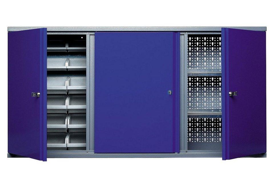 Hängeschrank »3 Türen, 2 Einlegeböden, 18 Sichtboxen, in ultramarinblau« in blau