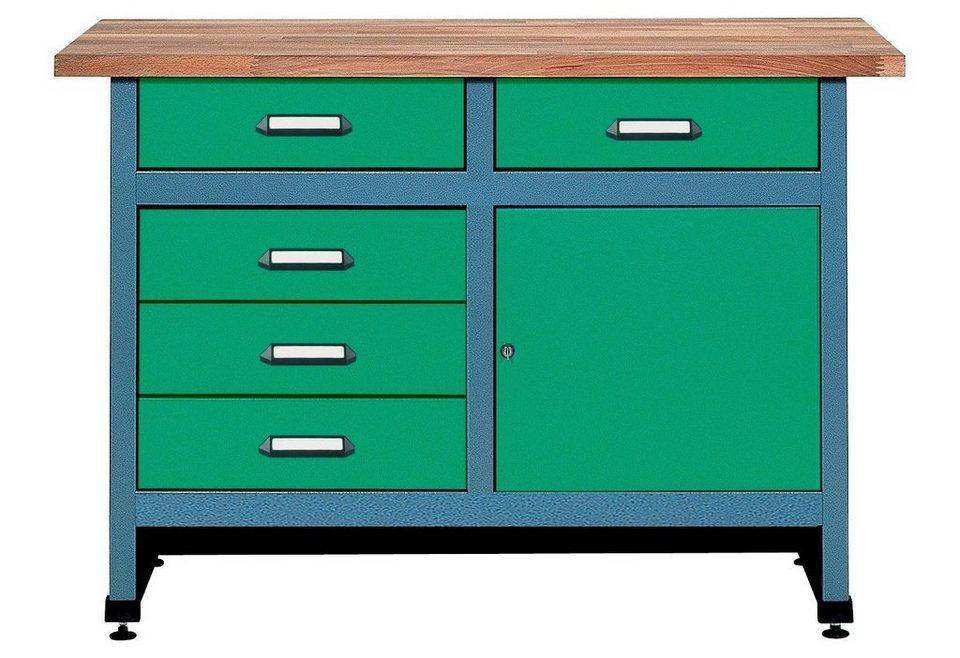 Werkbank »1 Tür, 5 Schubladen, grün, in verschiedenen Höhen«