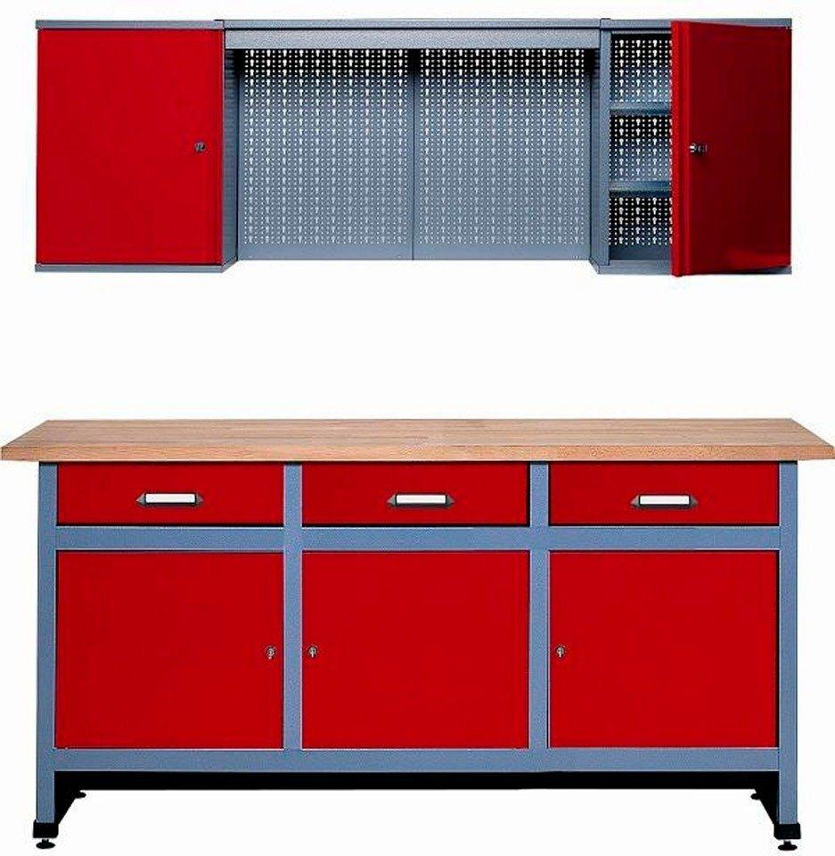 Werkbank-Set 1,70 m, rot, in verschiedenen Höhen in rot