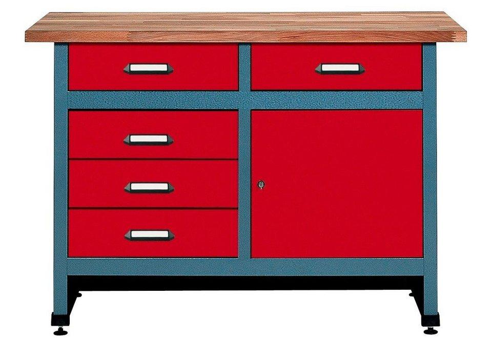 Küpper Werkbank »1 Tür, 5 Schubladen, rot, in verschiedenen Höhen«