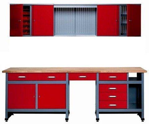 Werkbank-Set 240 cm, rot, in verschiedenen Höhen in rot