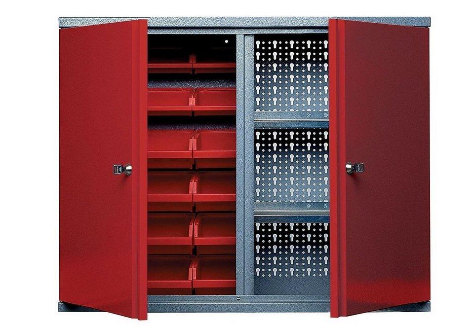 Küpper Hängeschrank »2 Türen, 2 Einlegeböden, 18 Sichtboxen, in rot« in rot