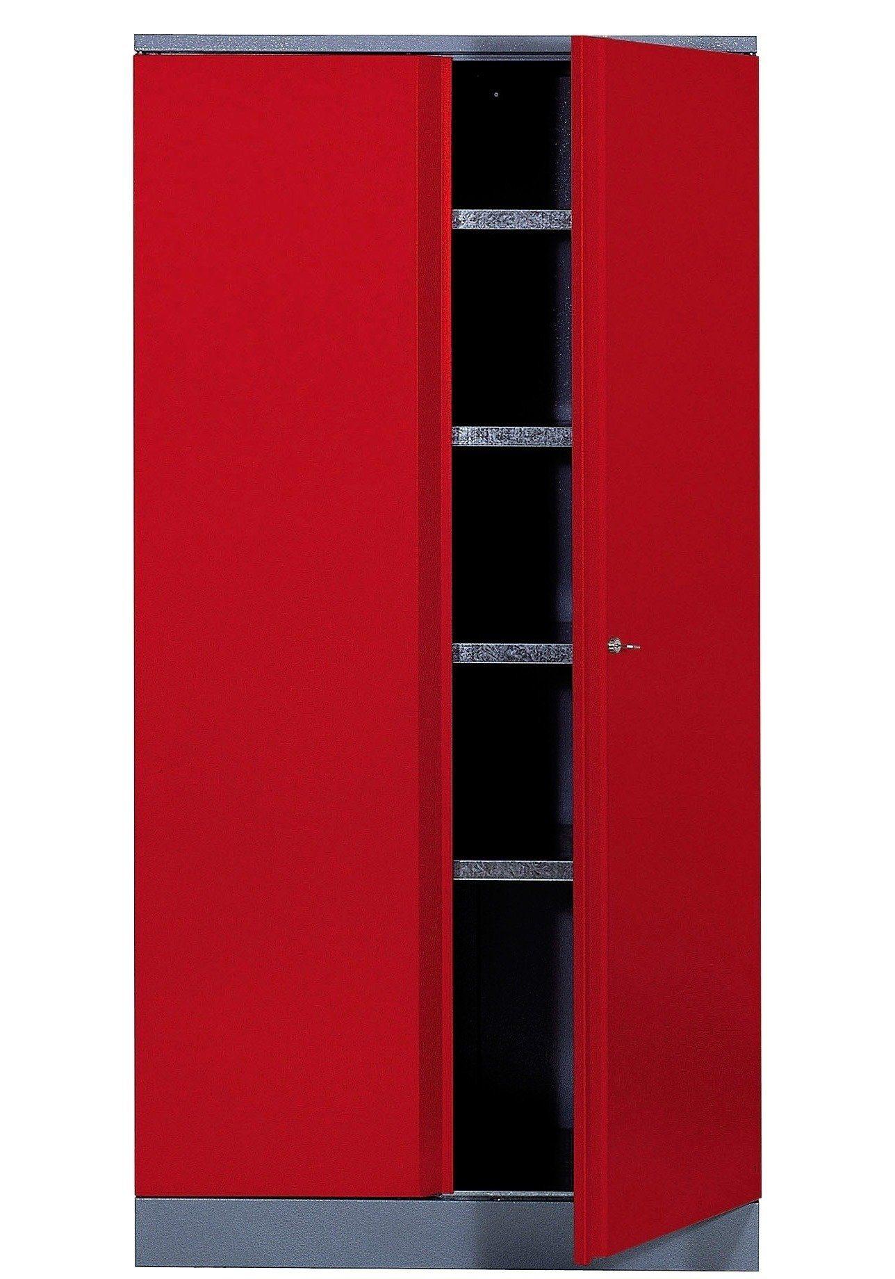 Hochschrank »2 Türen, 4 Einlegeböden, in rot«