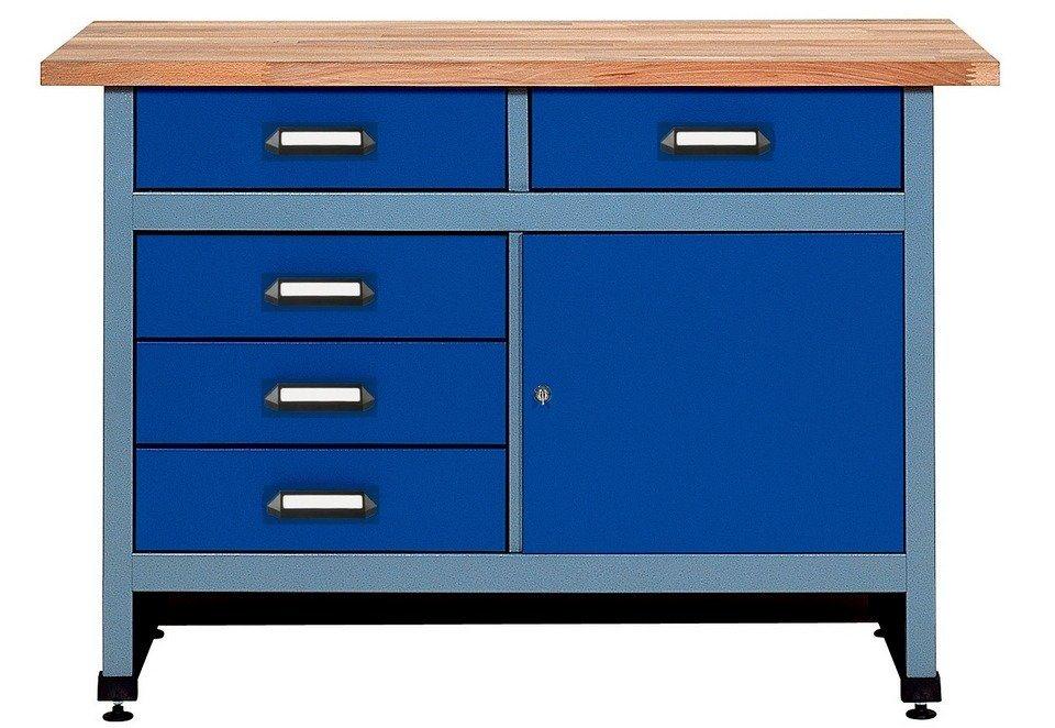 Werkbank »1 Tür, 5 Schubladen, in uiltramarinblau, SONDERHÖHE 95 cm« in blau