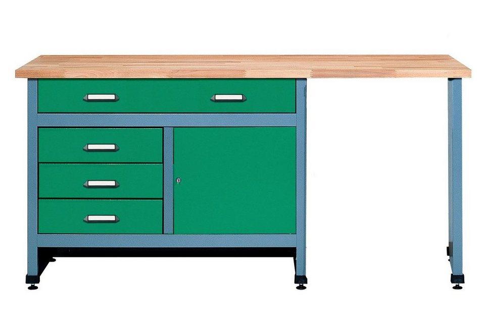 Werkbank »1 Tür, 4 Schubladen«, mit Sitzraum, in grün in grün
