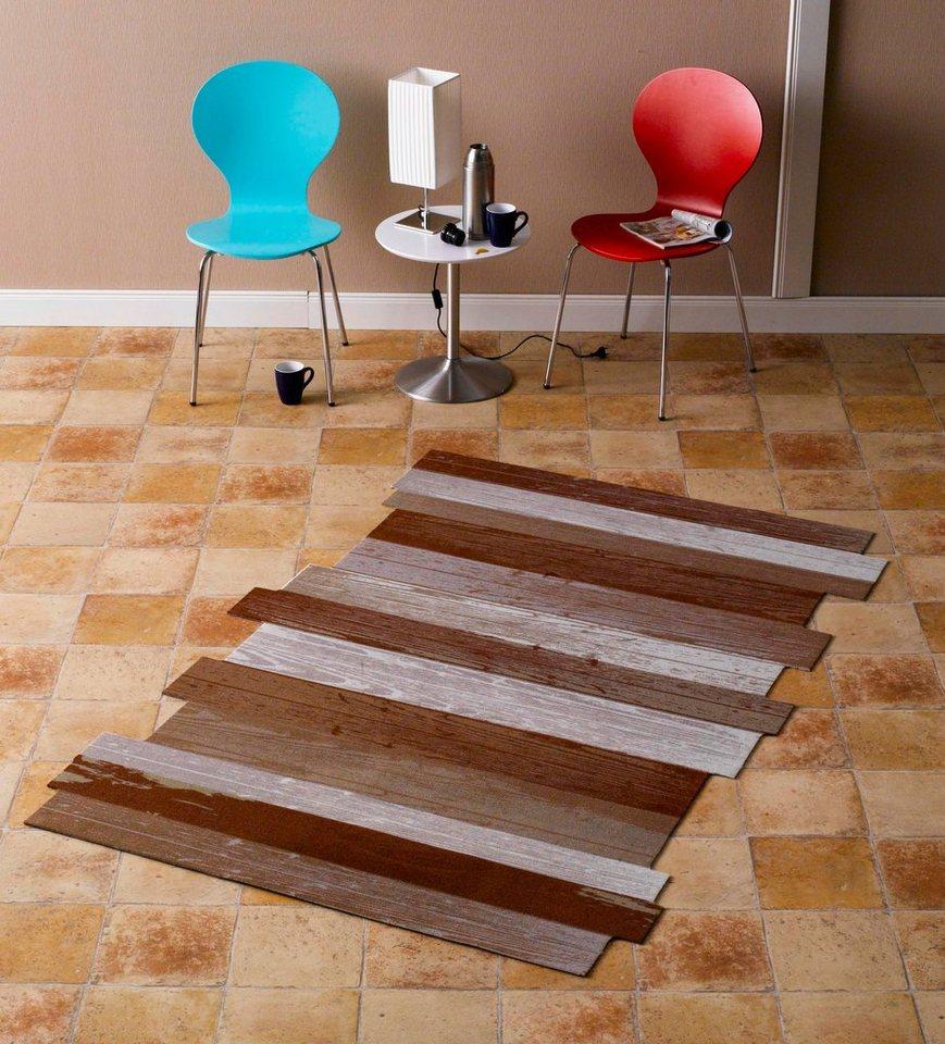 Teppich, Zala Living, »Holzplanke Wood Plank Kontur« in Braun