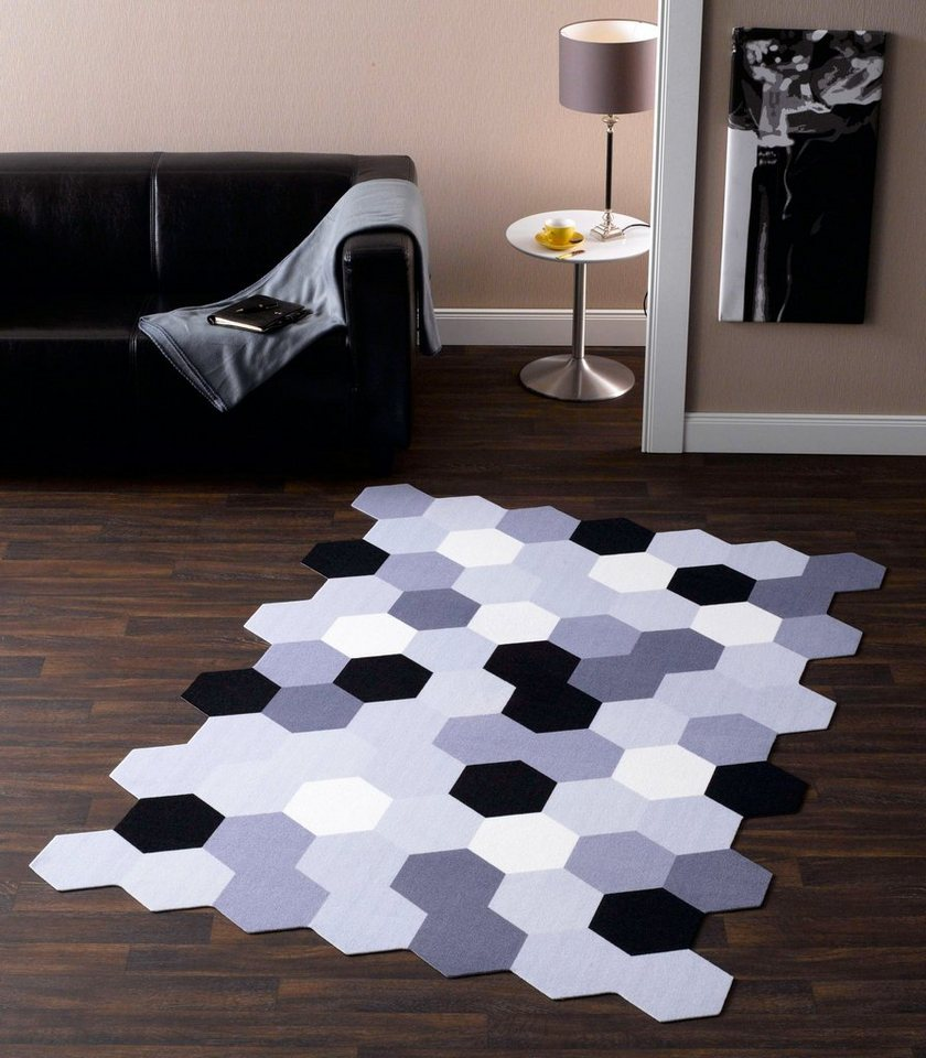 teppich zala living hexagon kontur kaufen otto. Black Bedroom Furniture Sets. Home Design Ideas