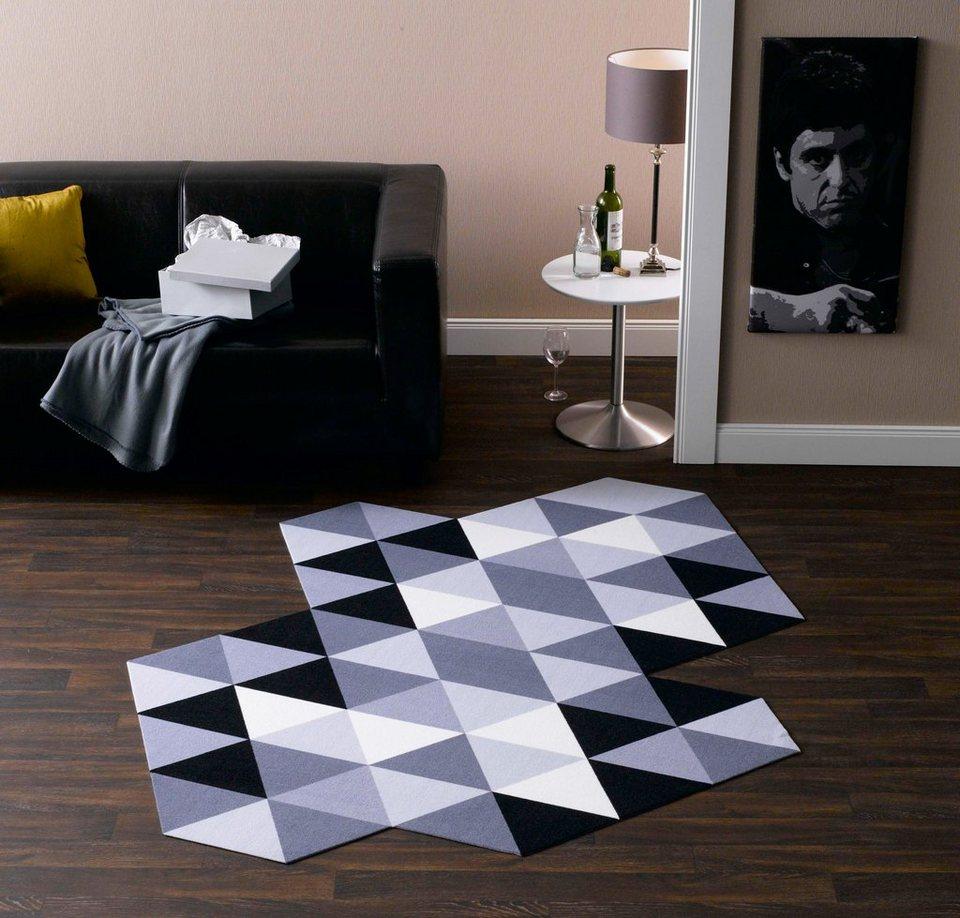 teppich schwarz weiss rauten innenr ume und m bel ideen. Black Bedroom Furniture Sets. Home Design Ideas