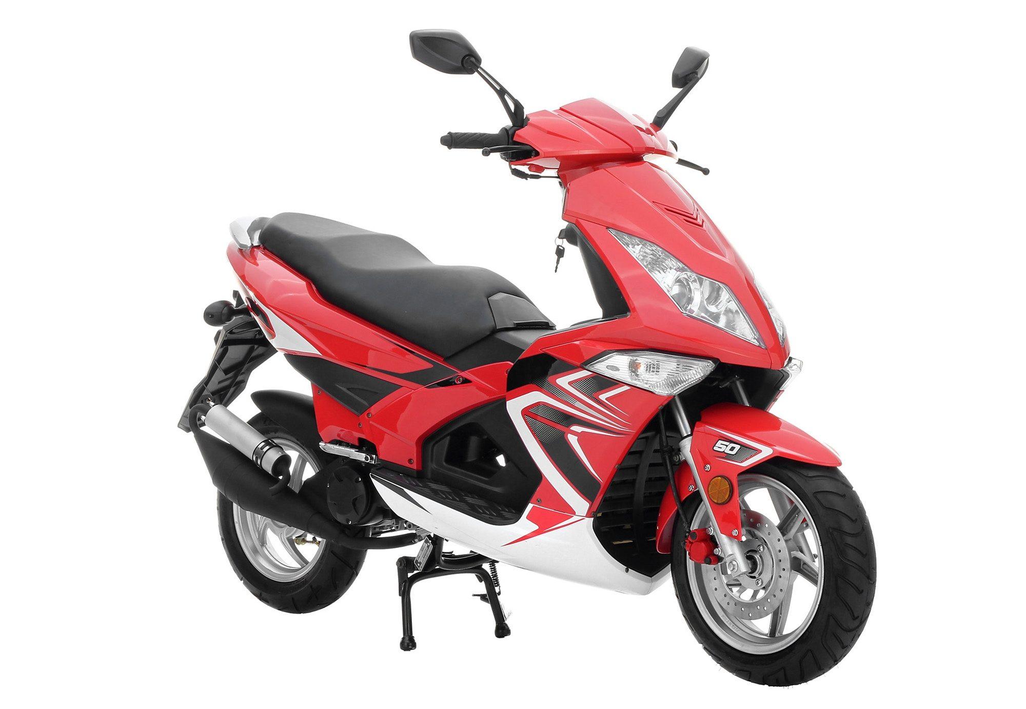 Mofaroller, 50 ccm 25 km/h, rot-schwarz-weiß, »GT extreme«, Nova Motors