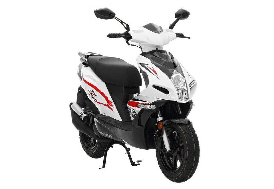 Mofaroller, 50 ccm 25 km/h, weiß-schwarz-rot, »GT 50«, Nova Motors in weiß-schwarz-rot