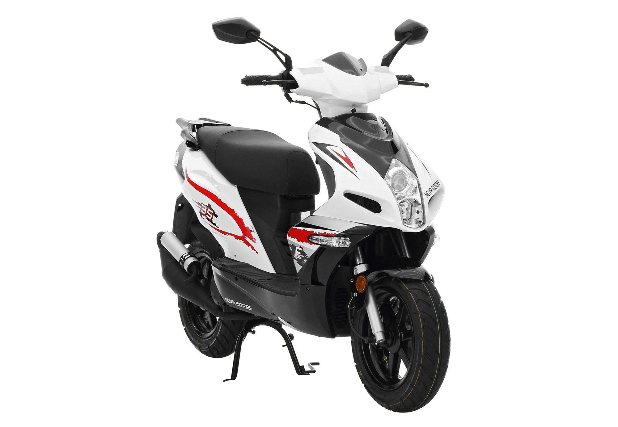 Mofaroller, 50 ccm 25 km/h, weiß-schwarz-rot, »GT 50«, Nova Motors