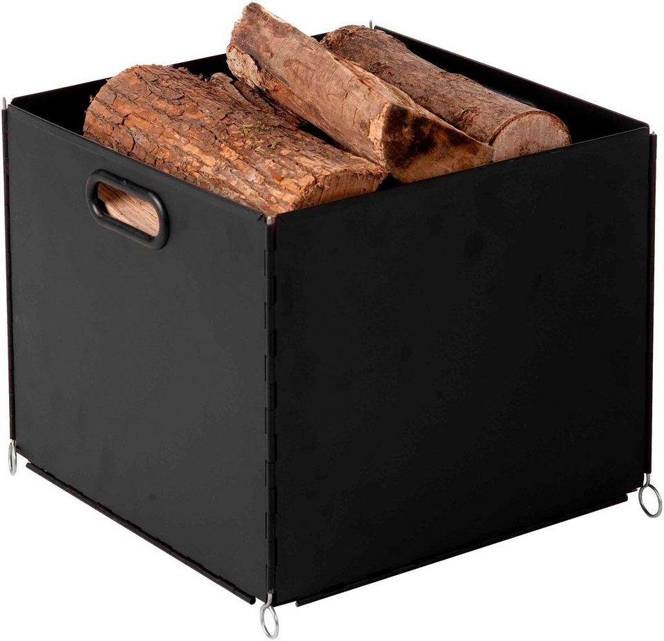 Kaminholzkorb »Eisen beschichtet«, 34 x 34 x 30 cm in schwarz