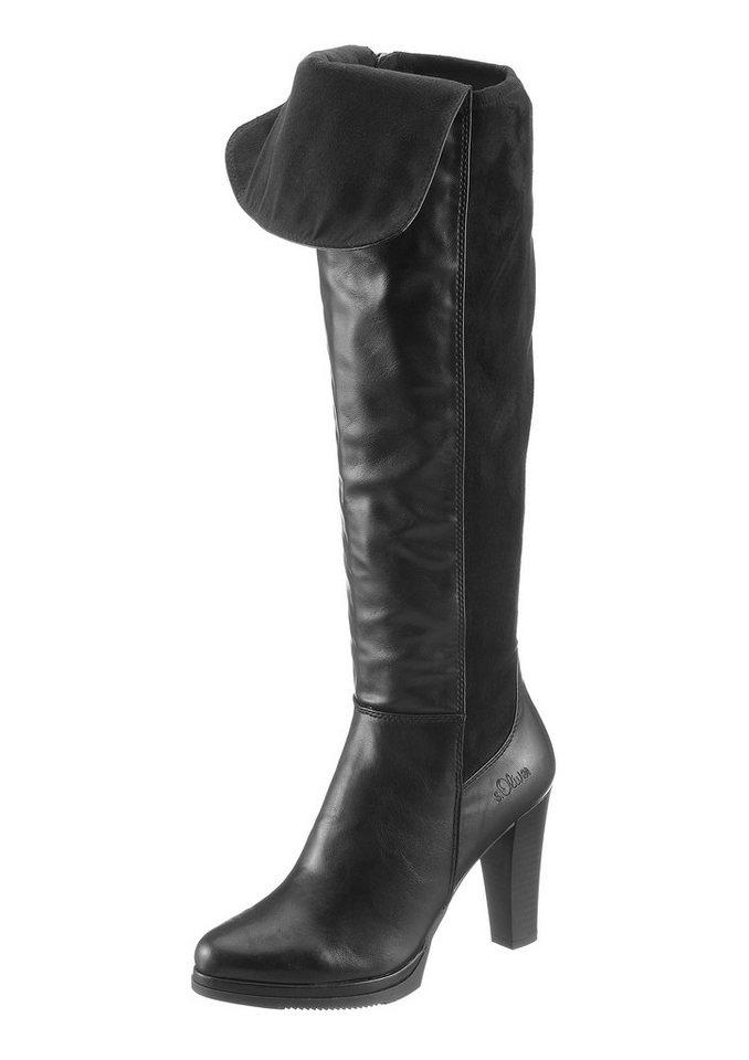 s.Oliver High Heel Overkneestiefel in schwarz