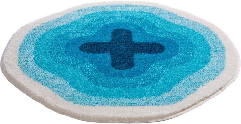 Badematte, Rund, Grund, »KARIM RASHID CONCEPT 03«, Höhe 22 mm, rutschhemmender Rücken in blau