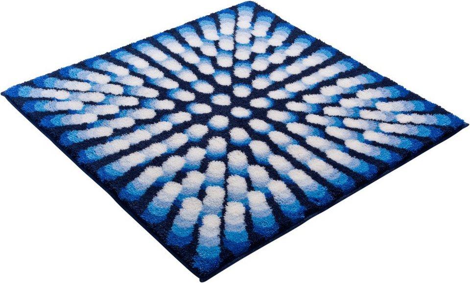 Badematte, Grund, »KARIM RASHID CONCEPT 07«, Höhe 20 mm, rutschhemmender Rücken in blau