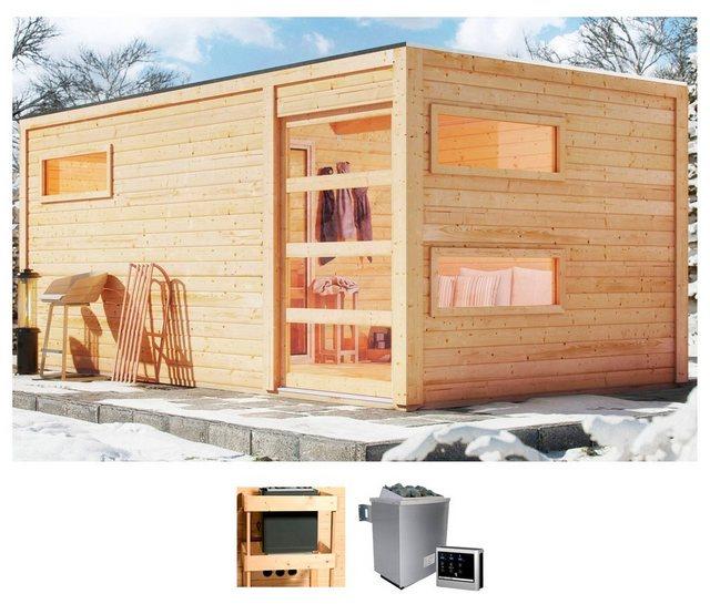 KARIBU Saunahaus »Helmar«, 508x276x221 cm, 9 kW Ofen mit ext. Steuerung | Baumarkt > Bad und Sanitär | Karibu