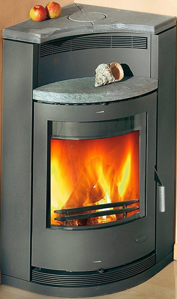 Kaminofen »Lyon«, Stahl, 8 kW, für die Ecke, Fireplace in grau