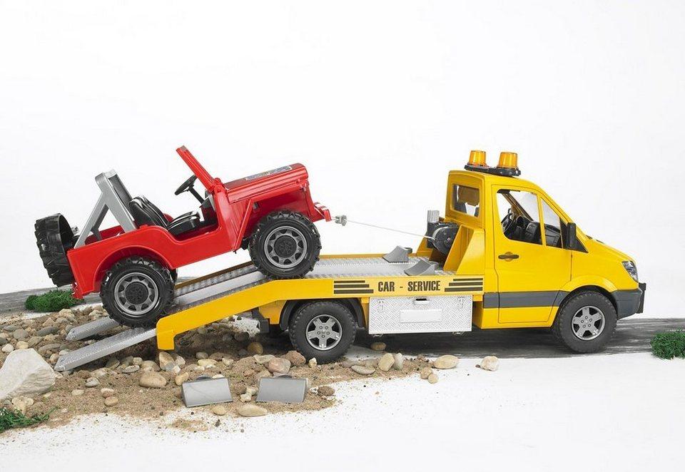 bruder® Auto-Transporter, »Mercedes Benz Sprinter + Geländewagen« in gelb