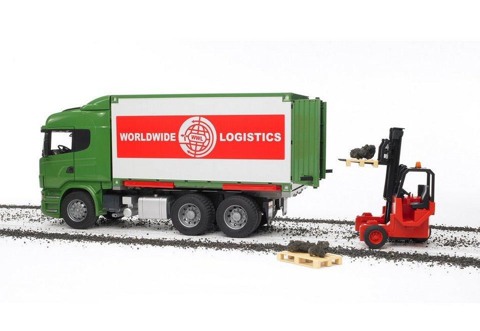 bruder® LKW mit Container-Wechselbrücke + Mitnahmestapler, »Scania R-Serie« in grün