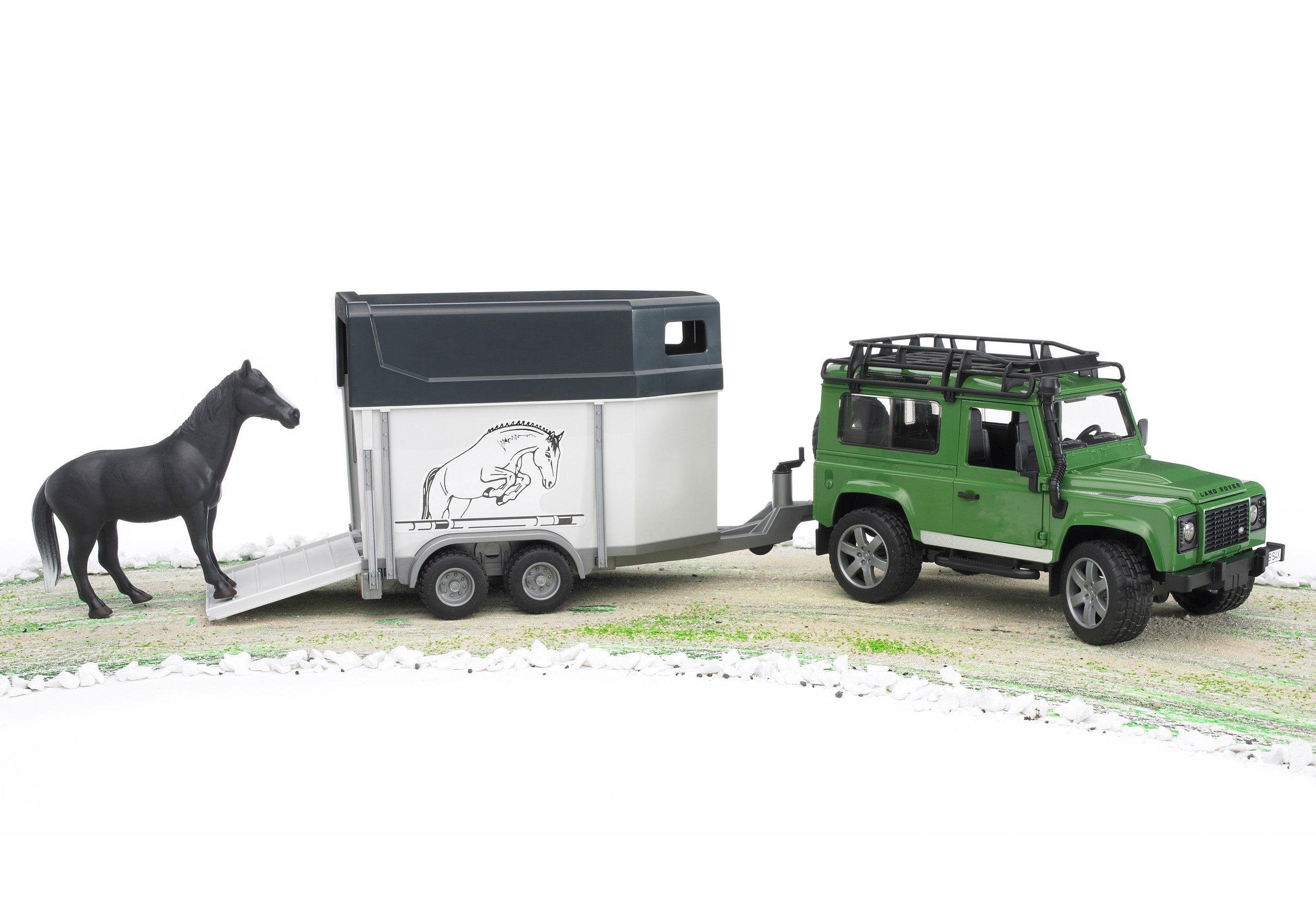 bruder® Geländewagen, »Land Rover Defender + Pferdeanhänger + Pferd«