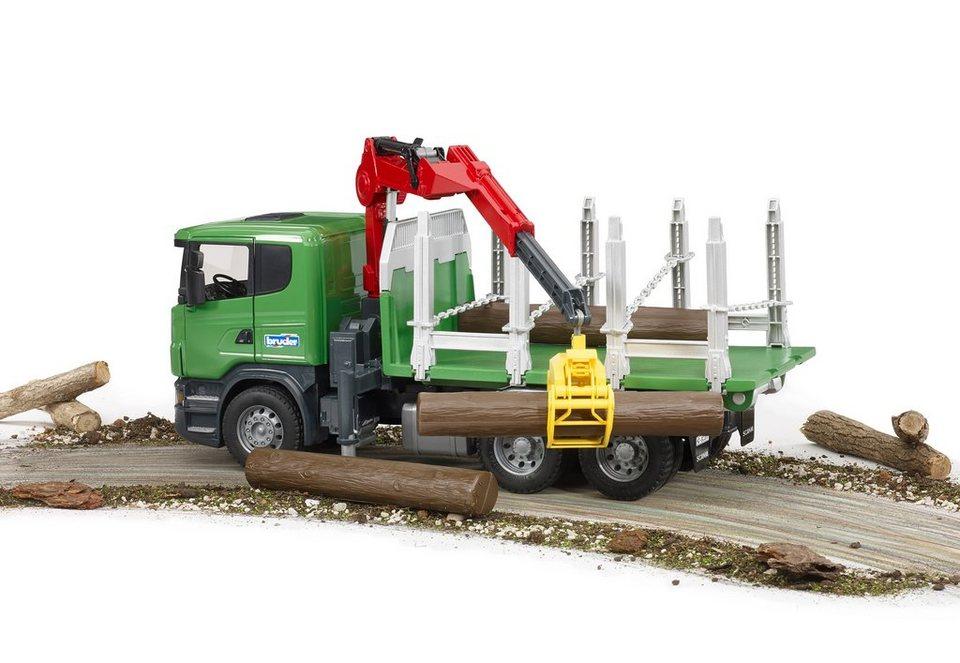 bruder® Holztransport-LKW mit Ladekran, Greifer und 3 Baumstämmen, »Scania R-Serie« in grün