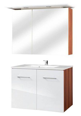 Badmöbel-Set »Monza«, 2-tlg. in nussbaumfarben/weiß