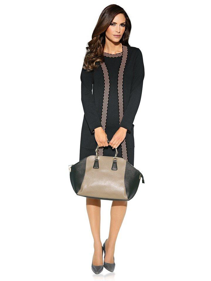 Tasche in taupe/schwarz