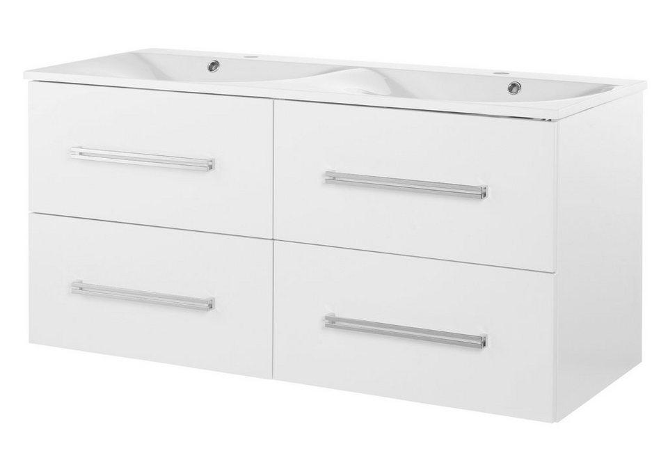Waschtisch »Lugano«, Breite 120 cm, (2-tlg.) in weiß/weiß