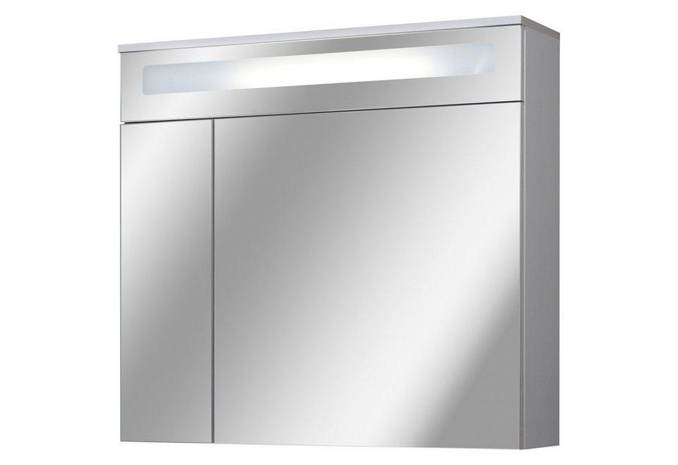 Spiegelschrank »Sienna« Breite 80 cm, mit Beleuchtung in silberfarben