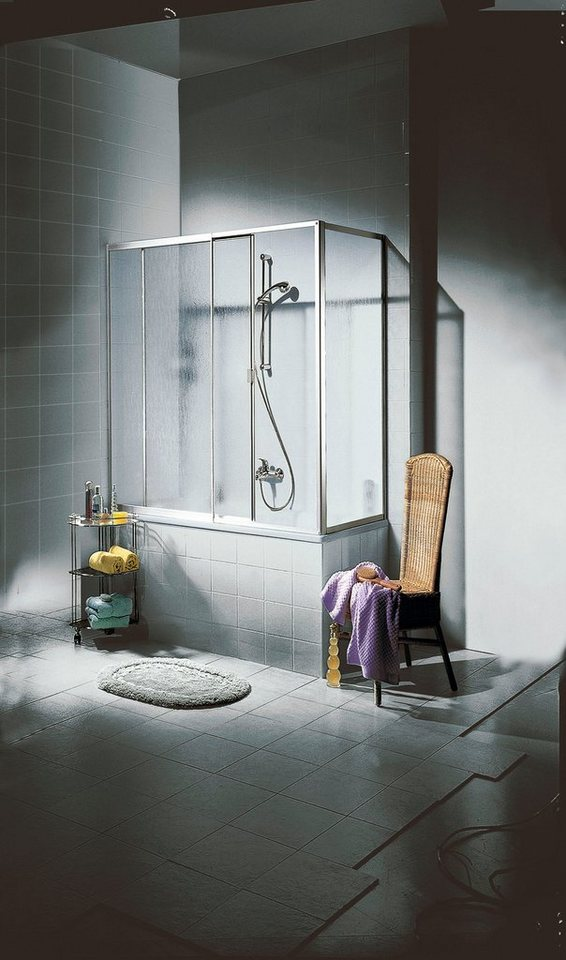 Seitenwand für Badewannenaufsatz in alufarben