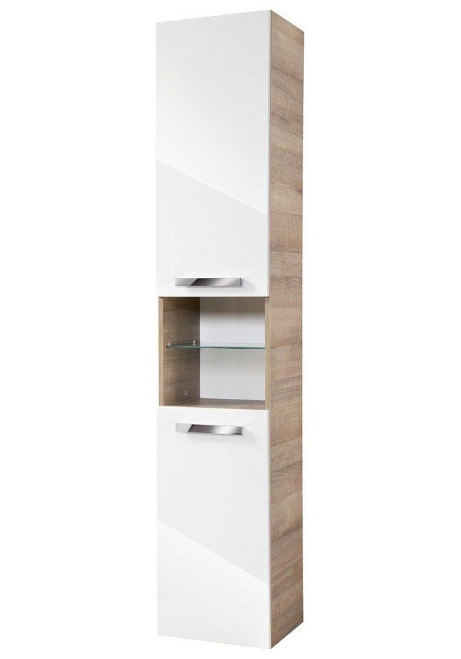 Hochschrank »A-Vero«, Breite 35 cm in weiß/eichefarben grau