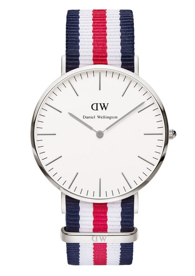 Daniel Wellington Quarzuhr »Classic Canterbury, 0202DW« in blau-weiß-rot
